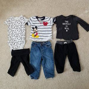 Baby Boy Size 12 Month Lot 6 Mickey Mouse Jeans +